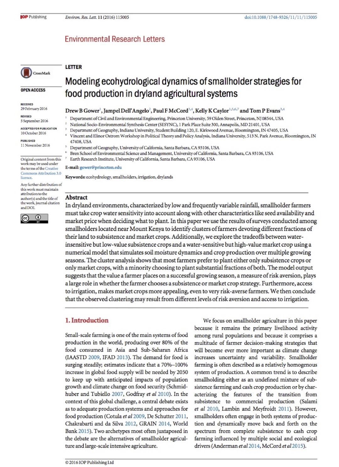 article published in environmental research letters water vegetation society